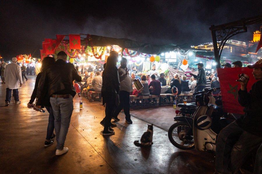 Stand de nourriture à Jema El Fnaa