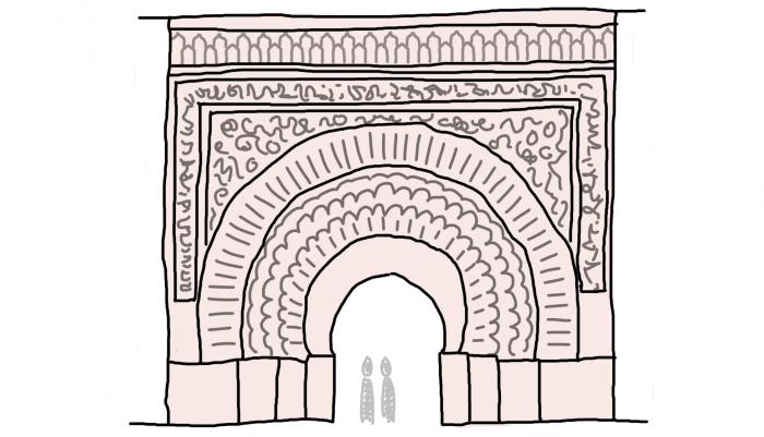 Dessin : la porte Bab Agnaou, à Marrakech