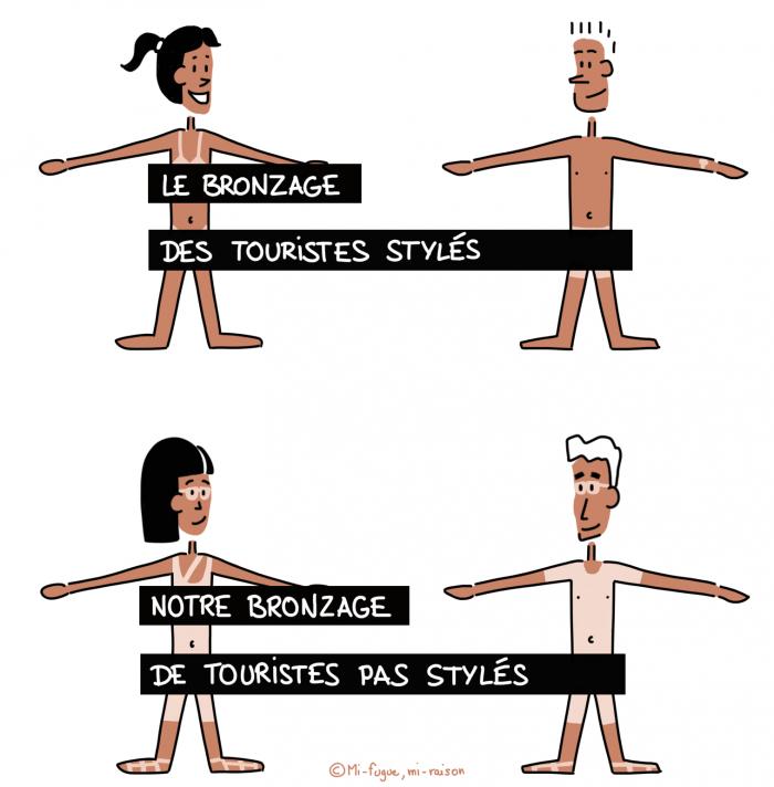 Dessin : bronzage de plagiste vs bronzage de randonneur