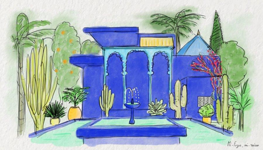 Aquarelle : le jardin Majorelle, Marrakech