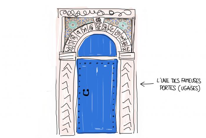 Dessin : porte portugaise à Essaouira