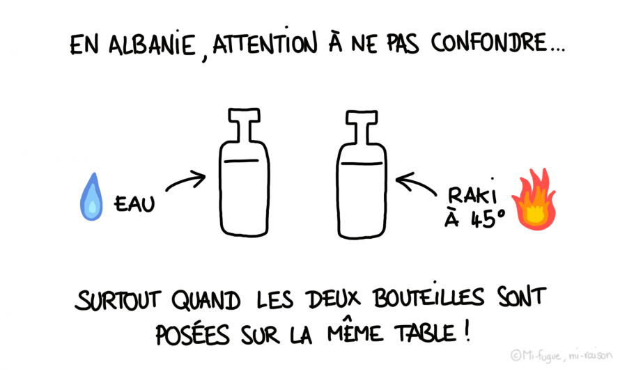 Dessin : attention au raki en Albanie !