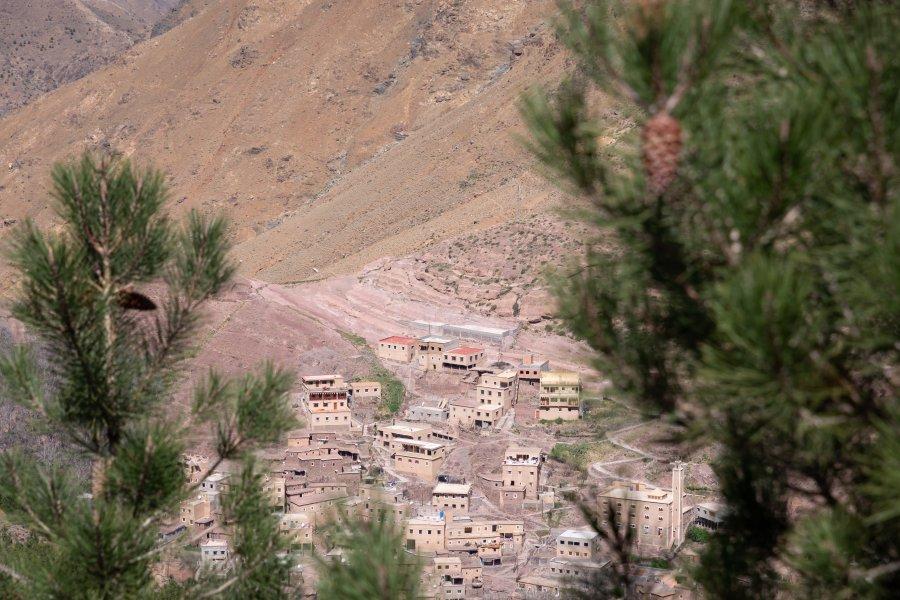 Village rose d'Imlil au Maroc