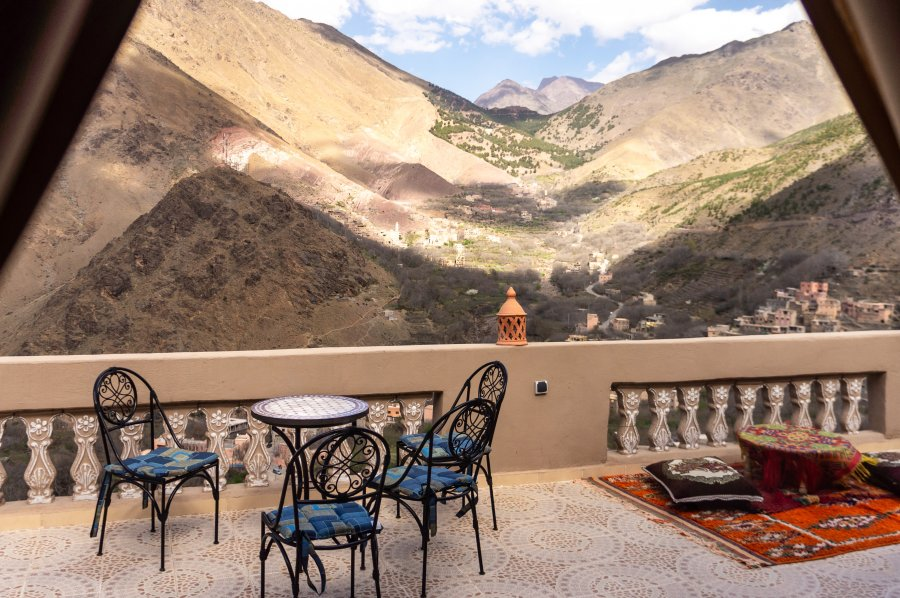 Vue panoramique d'un hôtel à Imlil