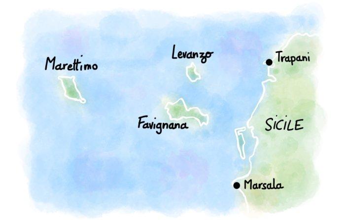 Carte : les îles Égades