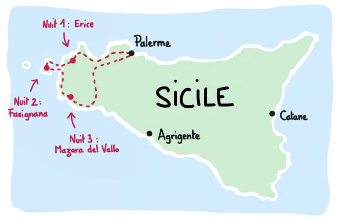 Carte road trip à l'ouest de la Sicile