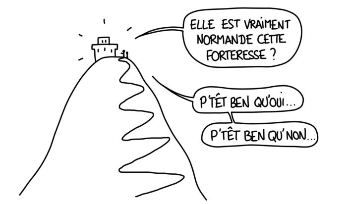 Dessin : la forteresse normande de Favignana est-elle vraiment normande ? Réponse : p'têt ben qu'oui, p'tête ben qu'non !