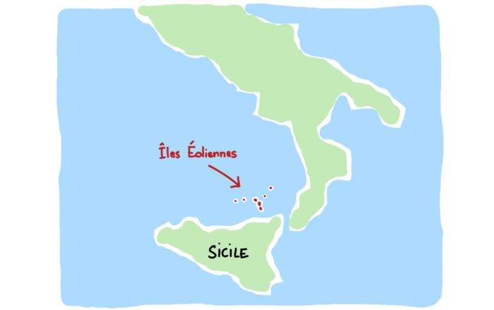 Carte des îles Éoliennes proches de la Sicile et de l'Italie