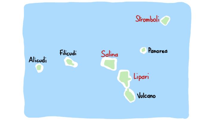 Carte des sept îles Éoliennes en gros plan
