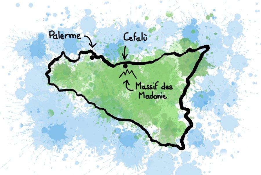 Dessin carte Sicile Cefalu et Madonie