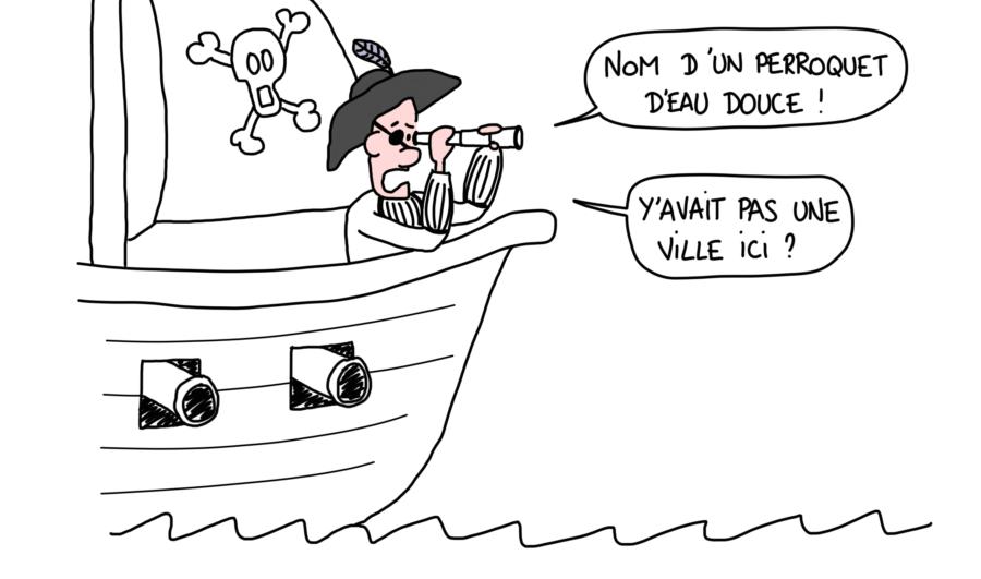 Dessin : Pirate qui approche de Cefalù et ne retrouve pas la ville