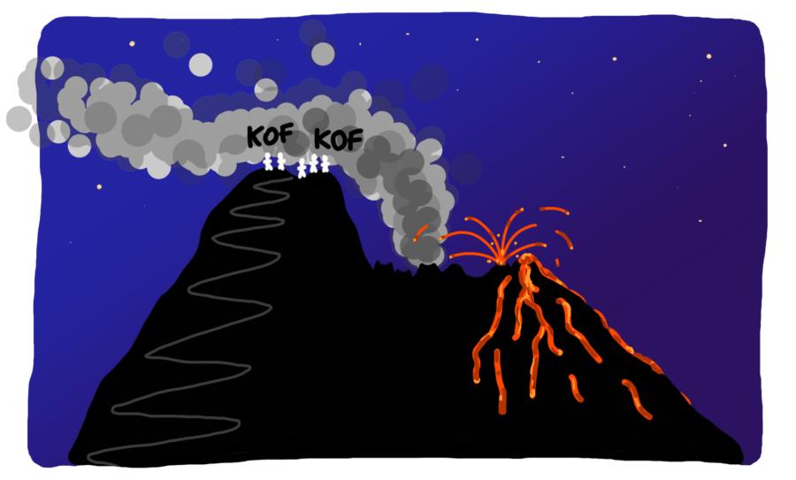 Dessin : notre trek raté sur le Stromboli, la tête dans la fumée