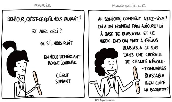 Dessin : différence entre une boulangère parisienne polie et une boulangère marseillaise... sympa !