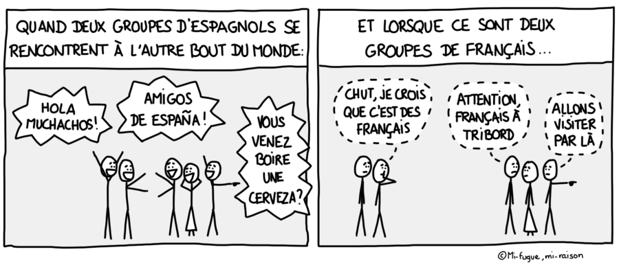 Dessin : Quand deux groupes de touristes français se rencontrent à l'étranger