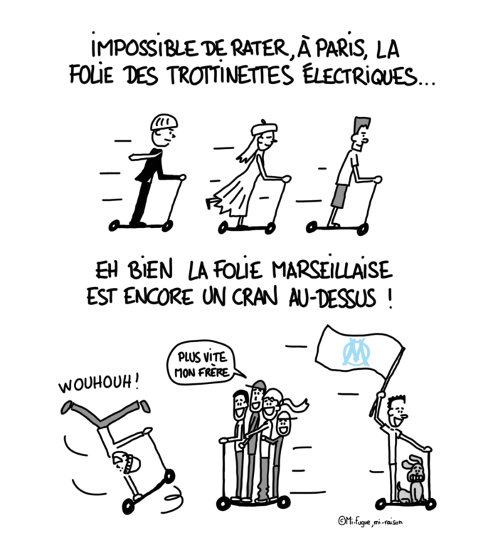 Dessin : la trottinette électrique à Paris Vs à Marseille