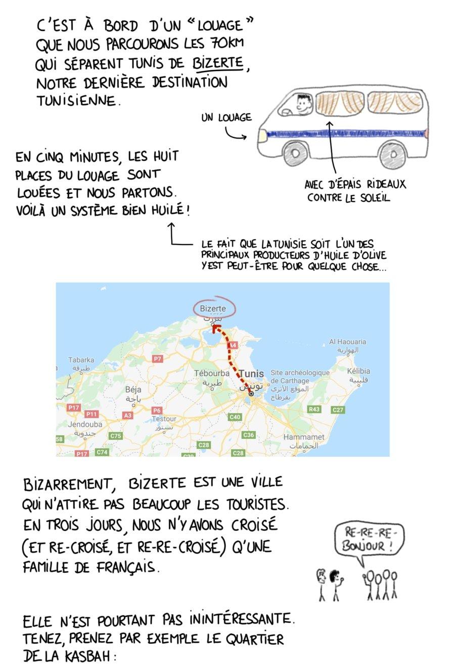Nous rejoignons Bizerte en Louage depuis Tunis