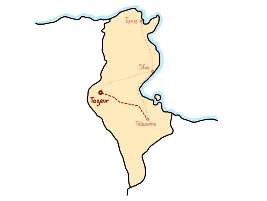 Carte : Road trip au sud de la Tunisie, étape à Tozeur