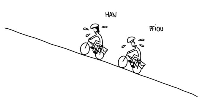 Dessin : montée à vélo
