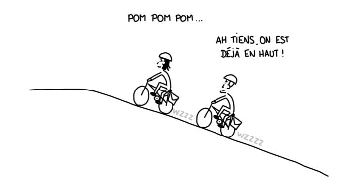 Dessin : montée à vélo électrique !
