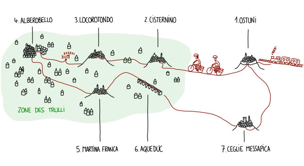 Carte de notre circuit à vélo dans les Pouilles, entre les trulli et les plus beaux villages blancs