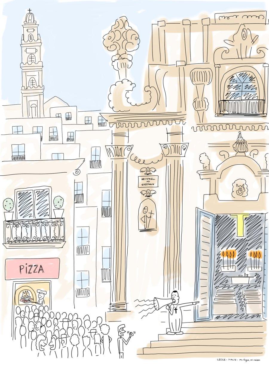 Dessin : à Lecce, la concurrence est rude entre église et pizza !