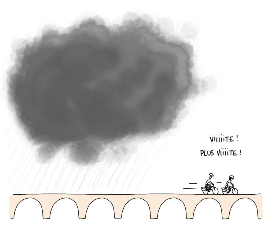 Dessin : vélo et gros nuage de pluie qui nous poursuit