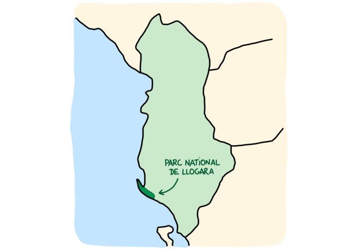 Carte parc national de Llogara Albanie