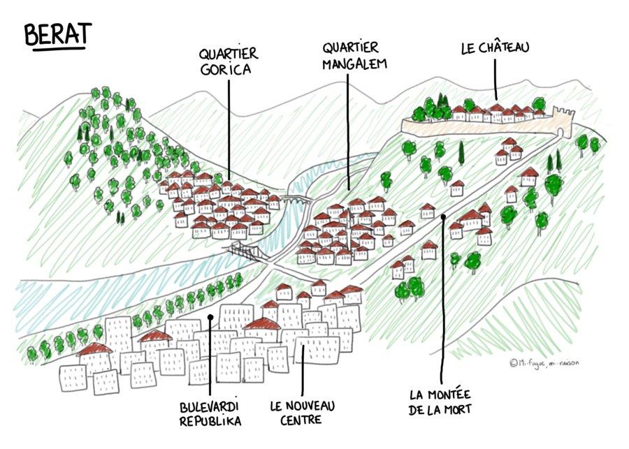 Plan de Berat en Albanie, avec les différents quartiers et le château