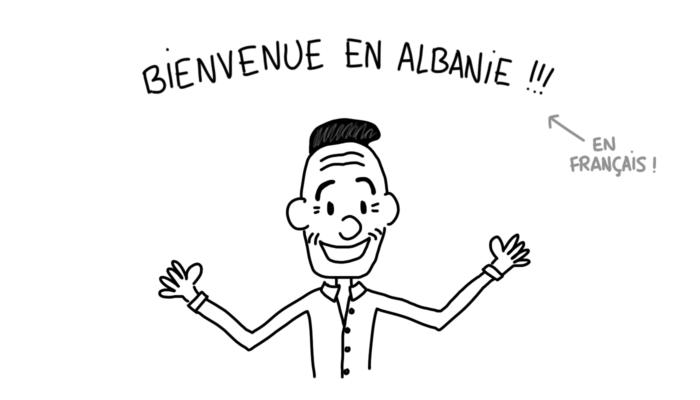 Dessin : homme qui nous souhaite la bienvenue en Albanie en français