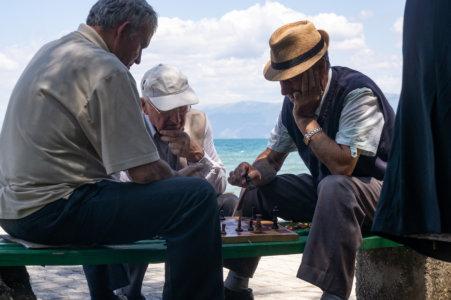 Joueurs d'échecs à Pogradec