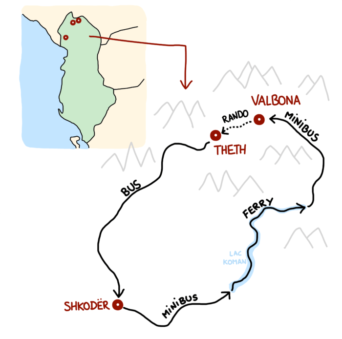 Carte de la boucle Shkoder Koman Valbona Theth