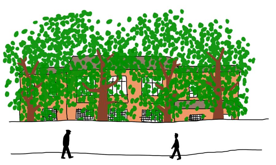 Dessin : House of Leaves, la maison des feuilles, Shtëpia me Gjethe, Tirana