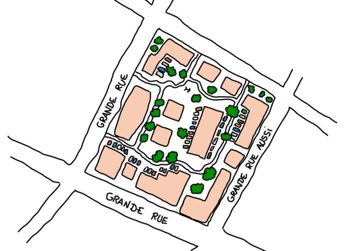 Dessin : bloc d'immeubles à Tirana vu d'en haut