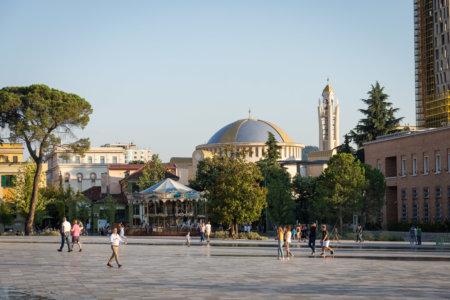Skanderbeg square à Tirana en Albanie