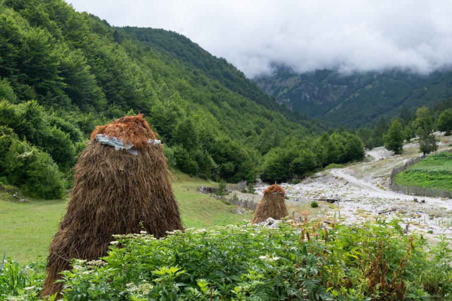 Paille dans le village de Kukaj près de Valbona
