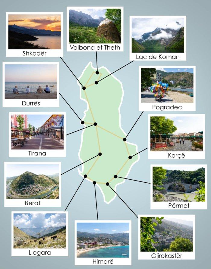 Itinéraire de voyage, circuit en Albanie sur une carte