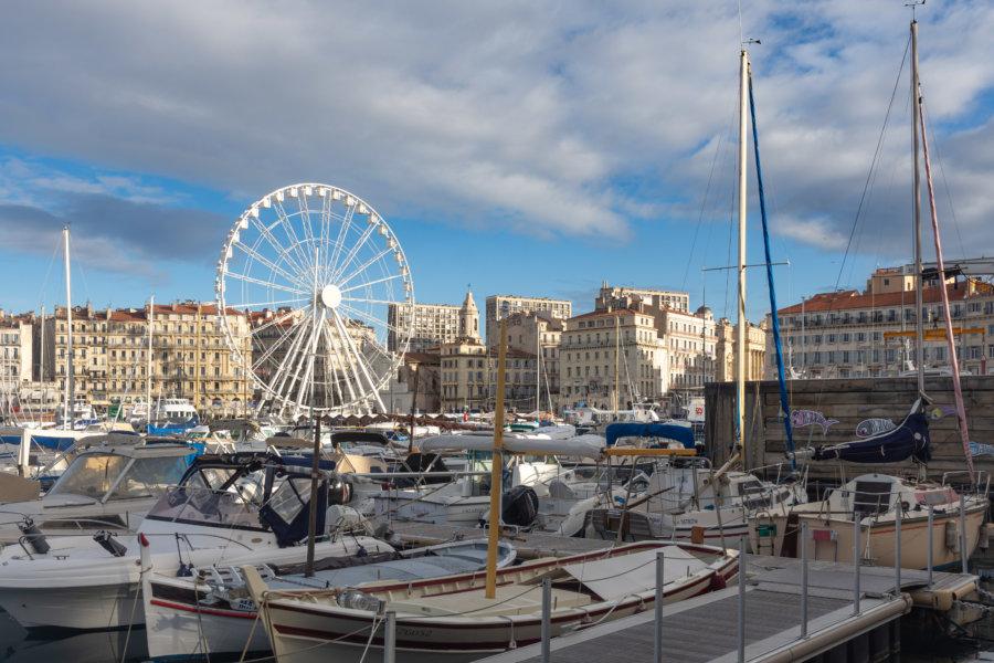 Vieux Port et grande roue à Marseille