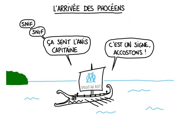 Dessin humour : l'arrivée des Phocéens à Marseille