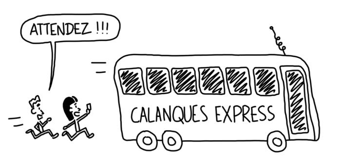 Dessin : prendre le bus vers le parc national des Calanques