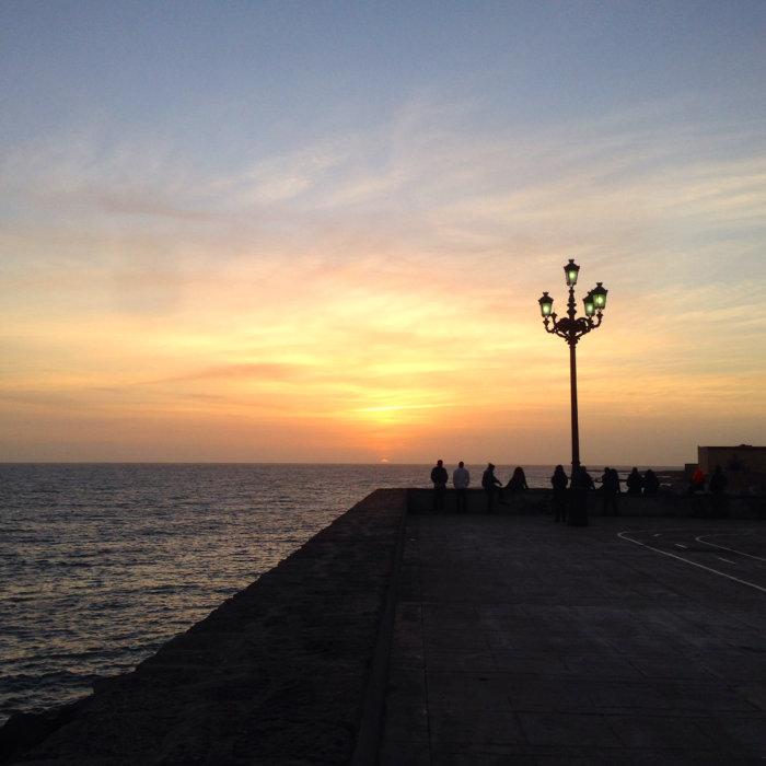 Coucher de soleil à Cadix en Andalousie