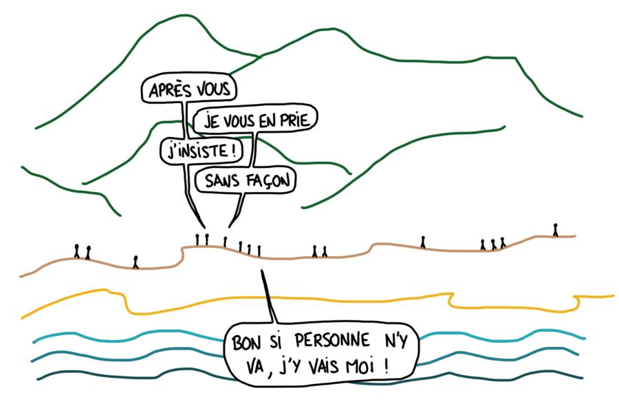 """Dessin : la politesse en randonnée """"après vous"""", """"je vous en prie"""""""