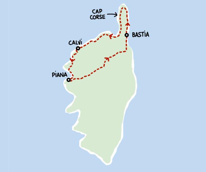 Dessin : carte de notre roadtrip en Haute-Corse
