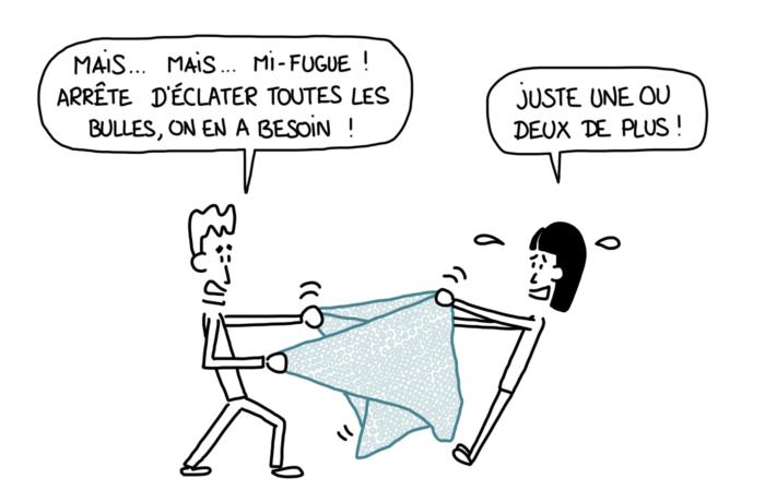 Dessin : bataille de papier-bulle
