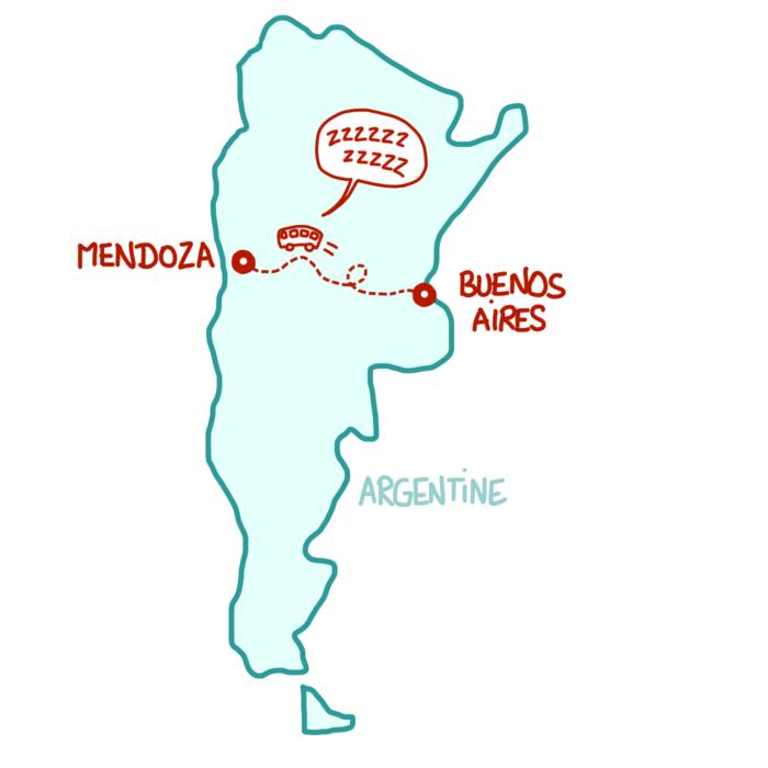 Dessin : carte d'Argentine trajet en bus vers Mendoza