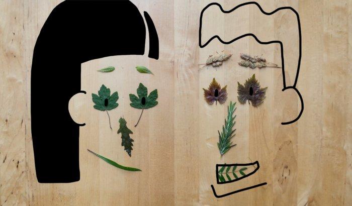 Dessin personnages avec des feuilles d'arbre