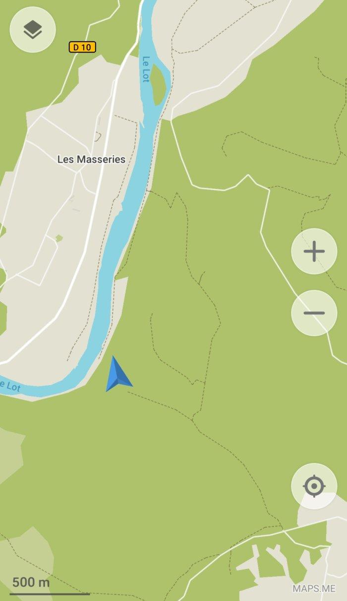 Carte pour accéder au belvédère sur le Lot pendant notre randonnée sur le GR36