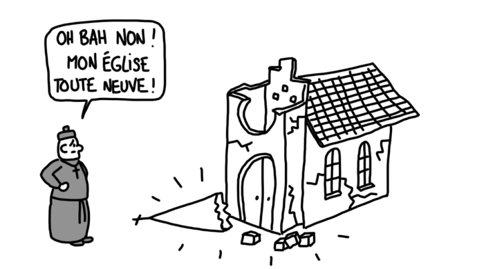 Dessin : tremblement de terre sur une église