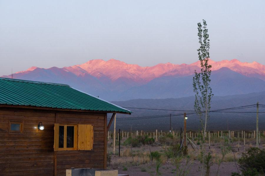 Coucher de soleil sur notre cabane à Uspallata