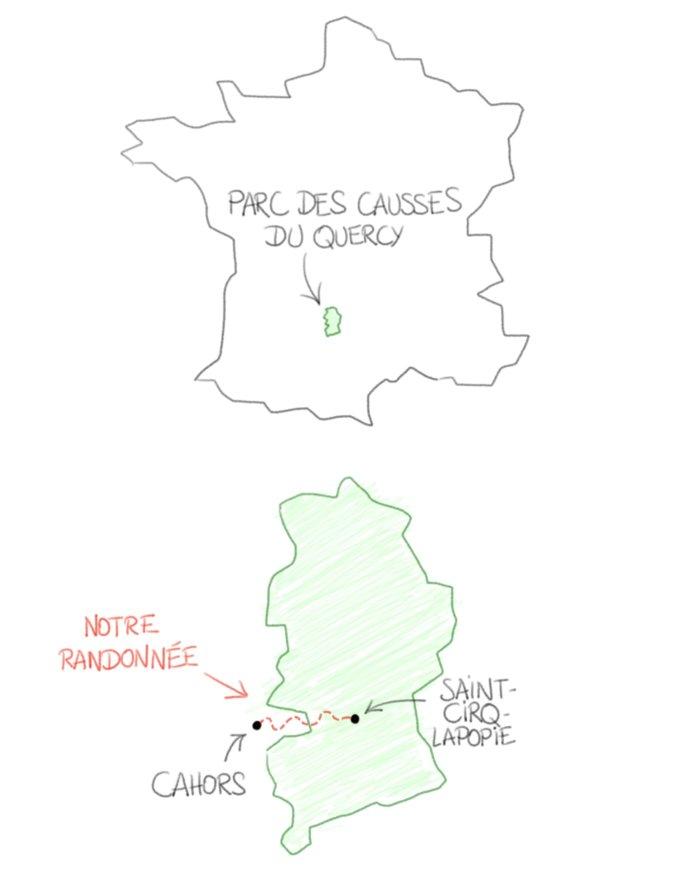 Dessin : carte de notre randonnée dans le Lot entre Cahors et Saint-Cirq-Lapopie