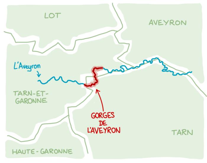 Carte : où se situent les Gorges de l'Aveyron ?